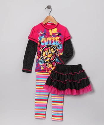 Hot Pink Cutie Layered Tee Set - Infant, Toddler & Girls