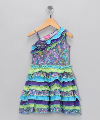 Blue & Lime Asymmetrical Dress - Infant & Toddler