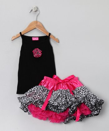Black Leopard Camisole & Pettiskirt - Infant, Toddler & Girls