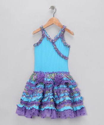 Turquoise & Purple Surplice Dress - Infant & Toddler