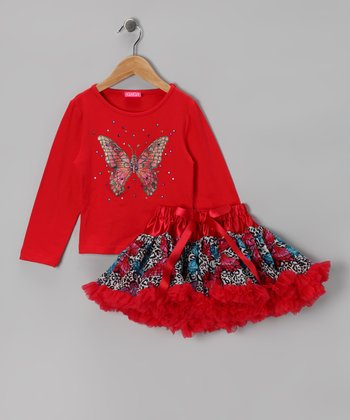 Red Butterfly Tee & Pettiskirt - Toddler & Girls