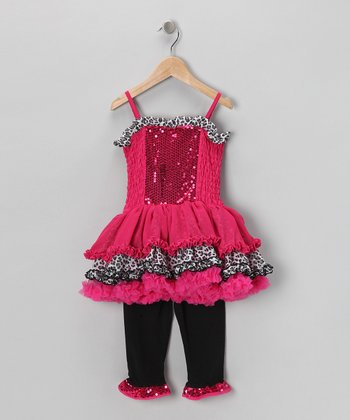 Hot Pink Ruffle Dress & Leggings - Infant & Toddler