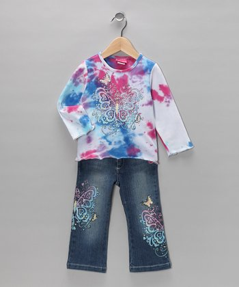 White Butterfly Sparkle Tee & Jeans - Girls