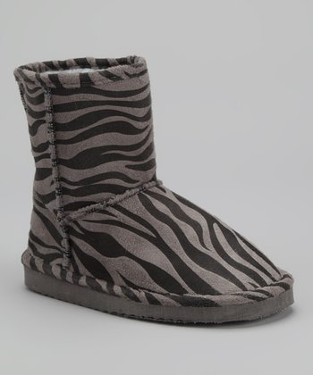 Gray & Black Zebra Boot