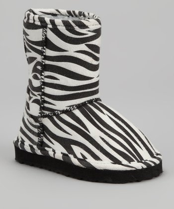White & Black Zebra Boot