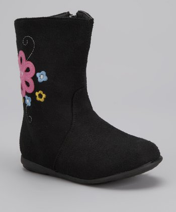 Black Floral Embroidery Boot