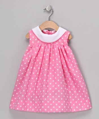 Ginger Hares Pink Polka Dot Aryana Dress - Toddler & Girls