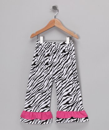 Ginger Hares Pink Zebra Ruffle Pants - Toddler & Girls