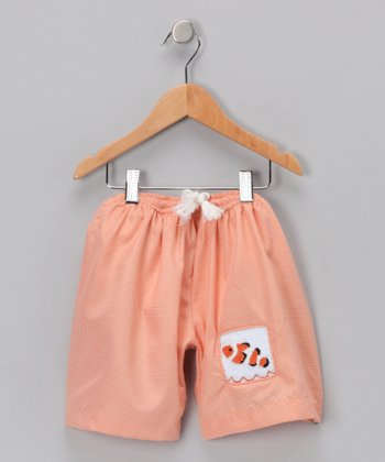 Orange Gingham Clownfish Boardshorts - Infant & Toddler