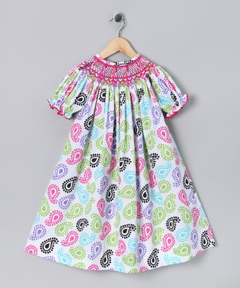 Pink & Lime Paisley Smocked Bishop Dress - Toddler & Girls