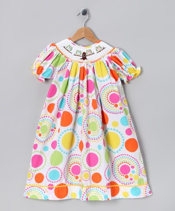 Lime & Orange Sofia Owl Smocked Bishop Dress - Toddler & Girls