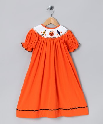 Orange Jack-O'-Lantern Smocked Dress - Infant, Toddler & Girls