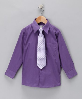 Purple & Lilac Button-Up Shirt & Clip-On Tie - Toddler & Boys