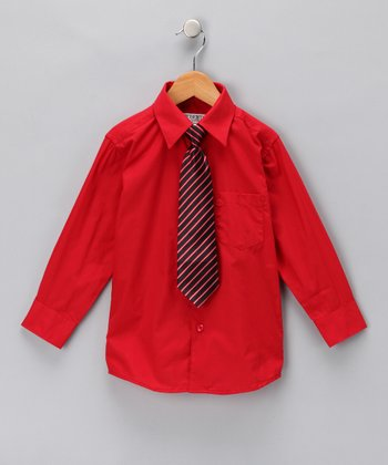 Royal Red Button-Up Shirt & Clip-On Tie - Toddler & Boys