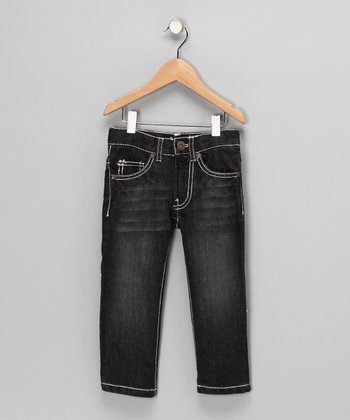 Black Faded Straight-Leg Jeans - Toddler