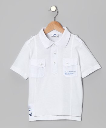 White Pocket Polo - Toddler & Boys
