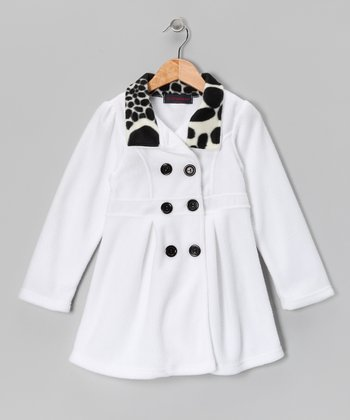 White Giraffe Fleece Double-Breasted Jacket - Girls