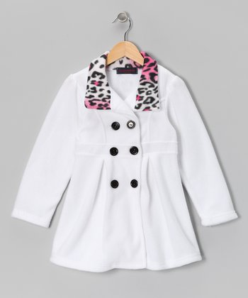 White & Pink Leopard Fleece Double-Breasted Jacket - Girls