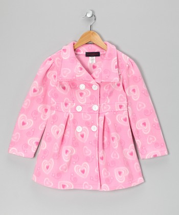 Pink Heart Fleece Double-Breasted Jacket - Girls