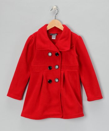 Red Polar Fleece Swing Coat - Girls