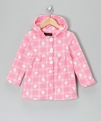 Pink Plaid Heart Polar Fleece Jacket - Girls