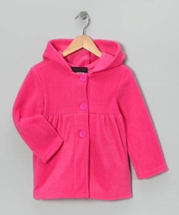 Dark Pink Fleece Hooded Jacket - Girls