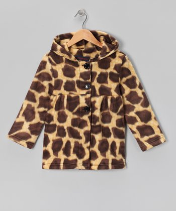 Giraffe Fleece Swing Coat - Girls
