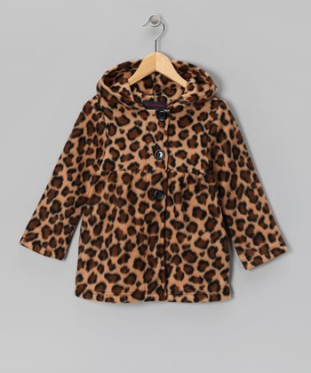 Leopard Fleece Swing Coat - Girls