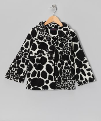 Black Giraffe Fleece Bell-Sleeve Coat - Girls