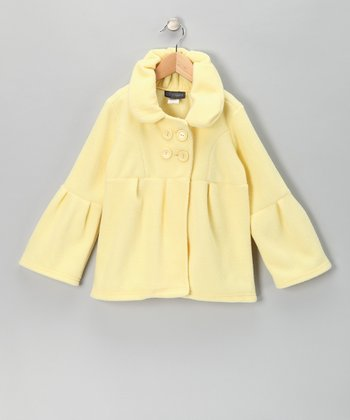 Yellow Bell-Sleeve Polar Fleece Jacket - Girls