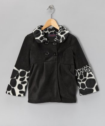 Black Dalmatian Bell-Sleeve Fleece Coat - Girls