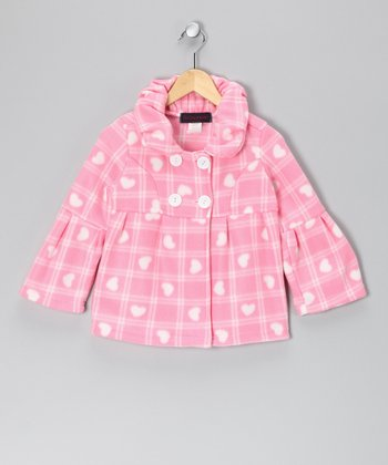 Pink Plaid Heart Fleece Bell-Sleeve Jacket - Girls