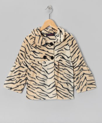 Cream Tiger Bell-Sleeve Fleece Coat - Girls