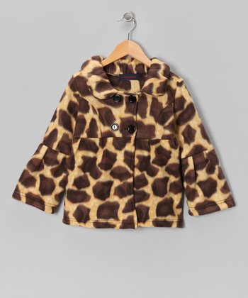 Giraffe Fleece Bell-Sleeve Jacket - Girls