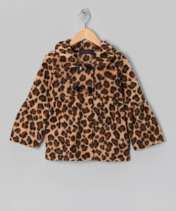Leopard Fleece Bell-Sleeve Coat - Girls