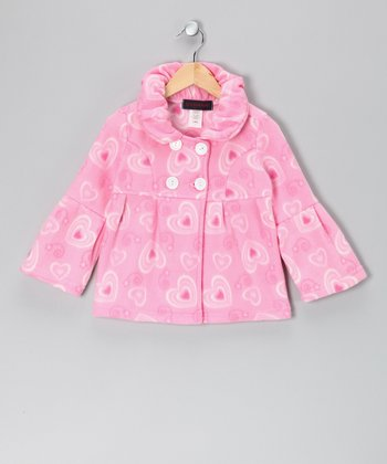 Pink Heart Fleece Bell-Sleeve Jacket - Girls