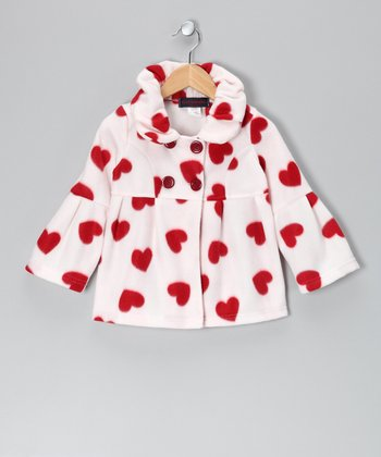White & Red Heart Polar Fleece Jacket - Girls