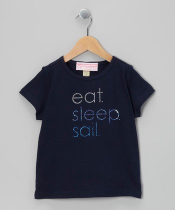 Navy Rhinestone 'Eat Sleep Sail' Tee - Girls