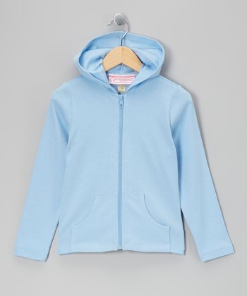 Baby Blue Rhinestone Anchor Zip-Up Hoodie - Girls