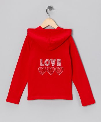 Girl ExtraOrdinaire Red Rhinestone 'Love' Zip-Up Hoodie - Girls