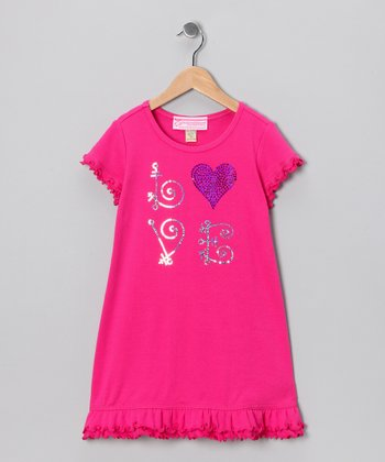 Hot Pink Sequin 'Love' Ruffle Dress - Girls