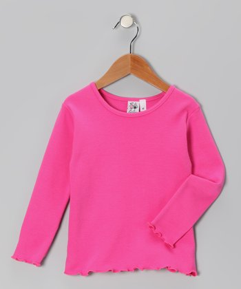 Hot Pink Lettuce-Edge Tee - Toddler & Girls