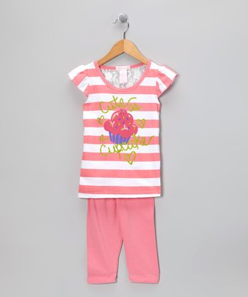 Pink Stripe 'Cupcake' Tunic & Leggings - Infant & Toddler