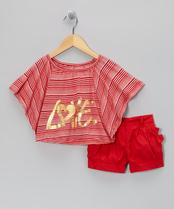 Red Stripe 'Love' Cape-Sleeve Top & Shorts - Girls