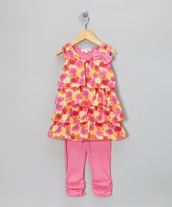 Pink Floral Bow Ruffle Top & Leggings - Girls