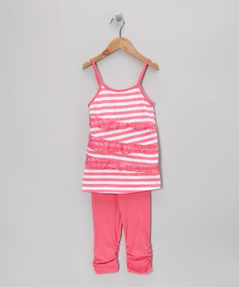 Pink Stripe Lace Tunic & Leggings - Toddler & Girls