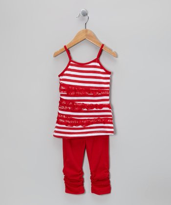 Red Stripe Lace Tunic & Leggings - Toddler & Girls