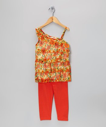 Orange Floral Ruffle Asymmetrical Top & Leggings - Toddler