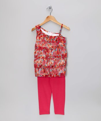 Pink Floral Ruffle Asymmetrical Top & Leggings - Toddler