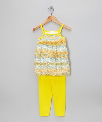 Yellow Floral Field Ruffle Top & Leggings - Toddler